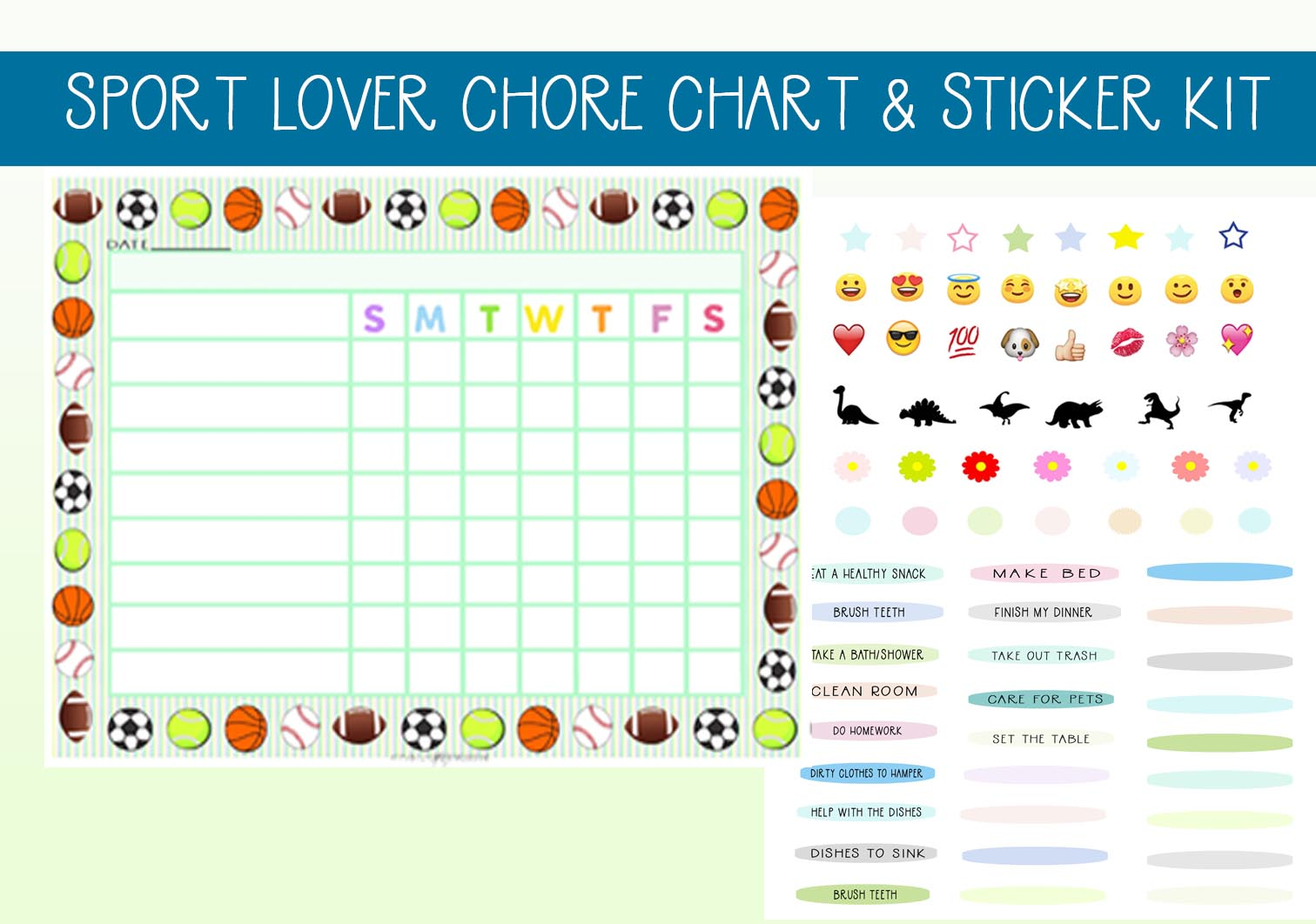 Download Free Sport Balls Chore Set With Stickers Graphic By Capeairforce for Cricut Explore, Silhouette and other cutting machines.
