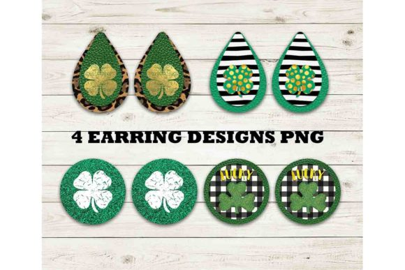 Print on Demand: St. Patrick's Clover Earring Bundle Graphic Print Templates By Mockup Station