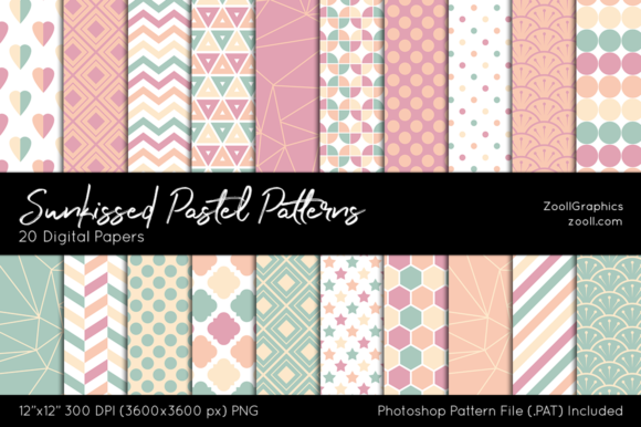 Sunkissed Pastel Digital Papers Graphic Patterns By ZoollGraphics