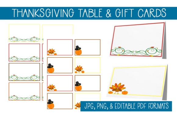 Download Free Thanksgiving Gift Table Cards Graphic By Capeairforce for Cricut Explore, Silhouette and other cutting machines.