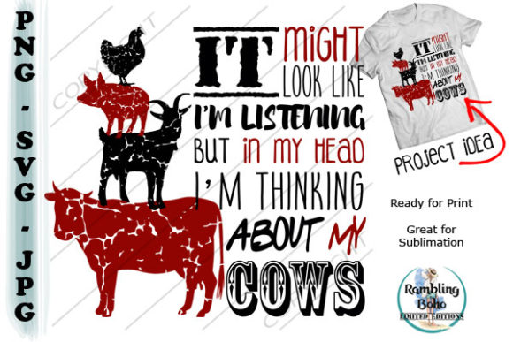 Thinking About My Cows Graphic Illustrations By RamblingBoho