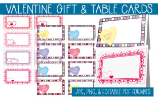 Download Free Valentine Gift Cards Table Cards Graphic By Capeairforce for Cricut Explore, Silhouette and other cutting machines.
