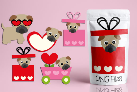 Print on Demand: Valentine Pug Dogs Graphic Illustrations By Revidevi