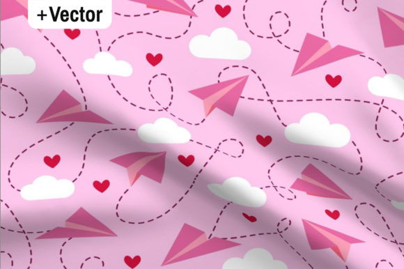 Print on Demand: Valentine's Day Paper Planes Pattern Graphic Patterns By Dana Du Design