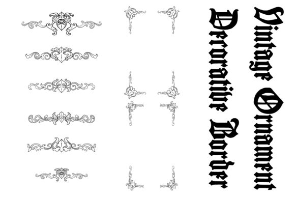 Print on Demand: Vintage Decorative Borders Graphic Objects By anomali.bisu