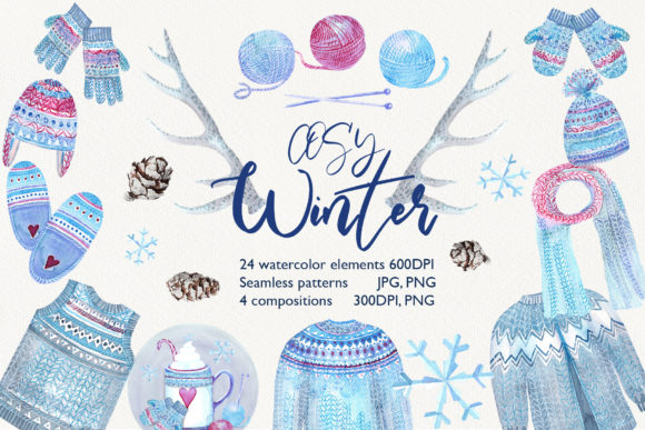 Print on Demand: Watercolor Cosy Winter Graphic Illustrations By evgenia_art_art - Image 1