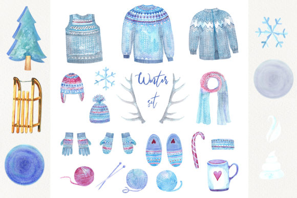Print on Demand: Watercolor Cosy Winter Graphic Illustrations By evgenia_art_art - Image 2