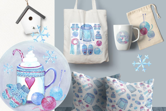 Print on Demand: Watercolor Cosy Winter Graphic Illustrations By evgenia_art_art - Image 3