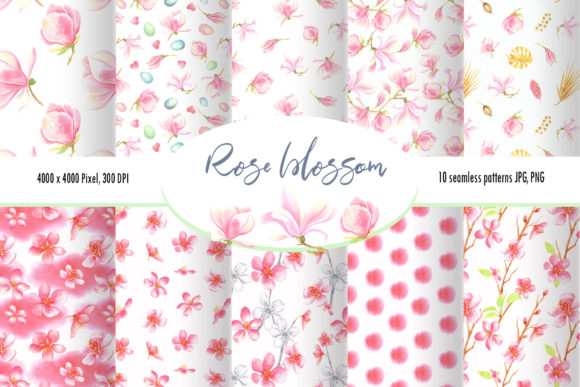 Print on Demand: Watercolor Rose Blossom Pattern Set Graphic Illustrations By evgenia_art_art