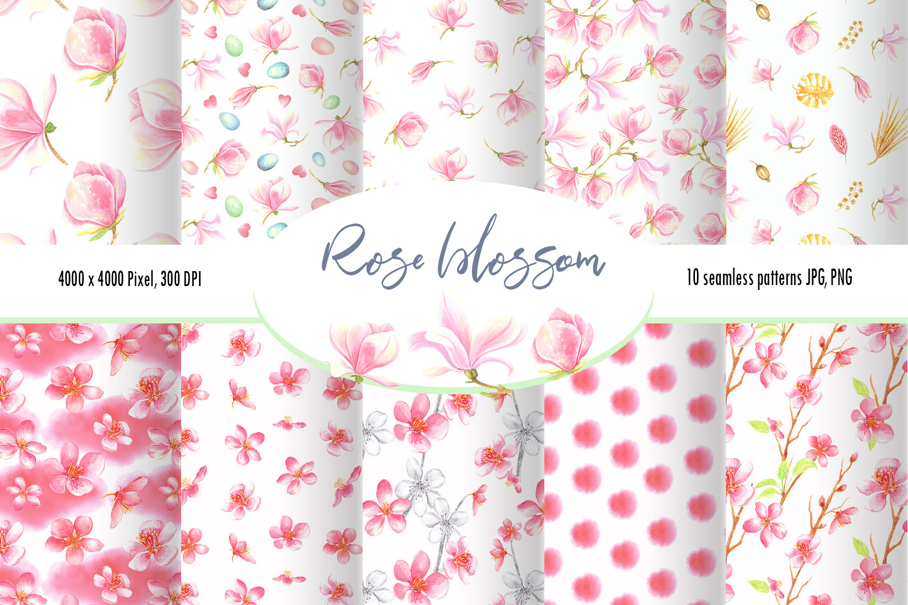 Download Free Watercolor Rose Blossom Pattern Set Graphic By Evgenia Art Art for Cricut Explore, Silhouette and other cutting machines.
