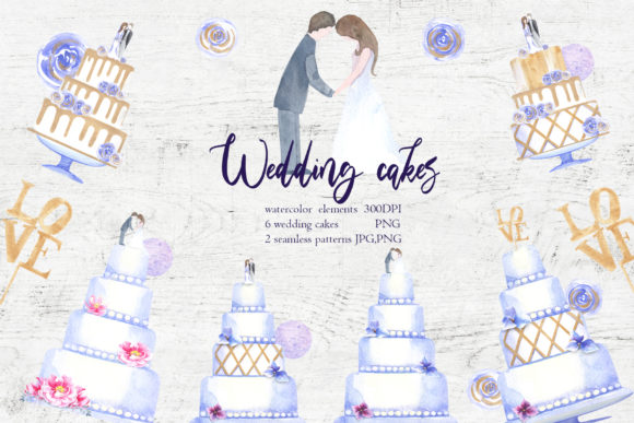 Print on Demand: Watercolor Wedding Cakes Graphic Illustrations By evgenia_art_art