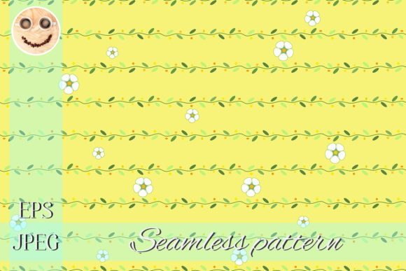 Print on Demand: White Flowers and Stems Graphic Patterns By TasiPas