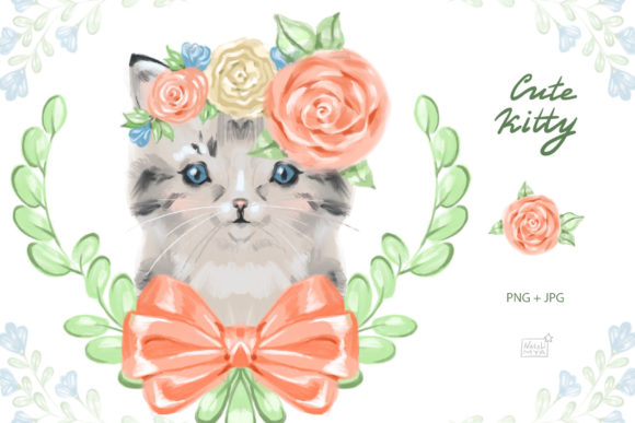 Сute Baby Cat Clipart Graphic Illustrations By NataliMyaStore