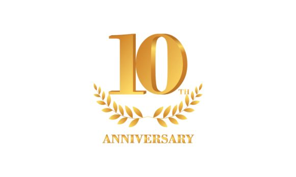 Download Free 10th Anniversary Celebration Logo Design Graphic By Deemka for Cricut Explore, Silhouette and other cutting machines.