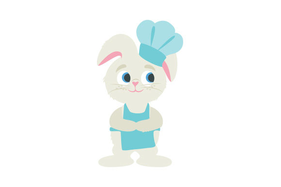 Bunny Wearing an Apron and Chef Hat Easter Craft Cut File By Creative Fabrica Crafts
