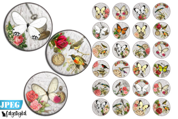 Print on Demand: Birds and Butterflies Circles Graphic Crafts By CatgoDigital