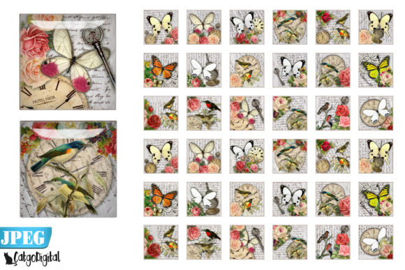 Print on Demand: Birds and Butterflies Printables Graphic Crafts By CatgoDigital