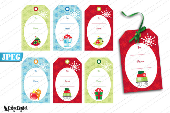 Print on Demand: Christmas Gift Tags Graphic Crafts By CatgoDigital