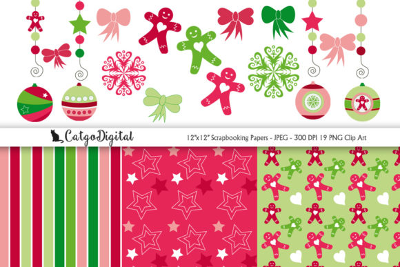 Print on Demand: Christmas Scrapbooking Papers Graphic Crafts By CatgoDigital