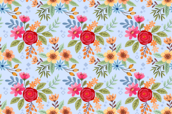 Download Free Colorful Hand Draw Flowers Pattern Graphic By Ranger262 SVG Cut Files