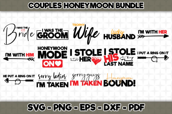 Print on Demand: Couples Honeymoon Bundle Graphic Crafts By SVGExpress