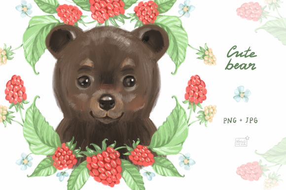 Cute Bear Cliparts Grafik Illustrationen von NataliMyaStore