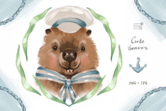Cute Beaver Sailor Clipart Graphic Illustrations By NataliMyaStore - Image 1