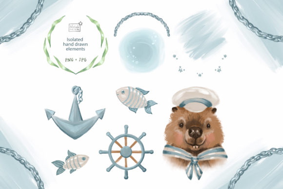 Cute Beaver Sailor Clipart Graphic Illustrations By NataliMyaStore - Image 2