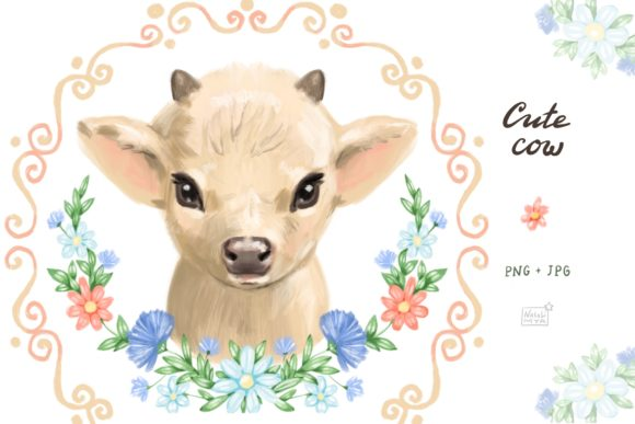 Cute Cow Graphic Illustrations By NataliMyaStore