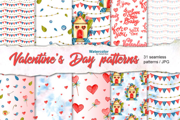 Cute Valentine's Day Digital Papers Graphic Patterns By NataliMyaStore