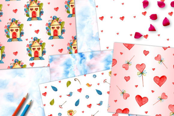Cute Valentine's Day Digital Papers Graphic Patterns By NataliMyaStore - Image 4