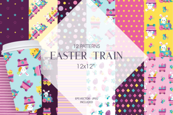 Print on Demand: Easter Train Graphic Patterns By Prettygrafik - Image 1