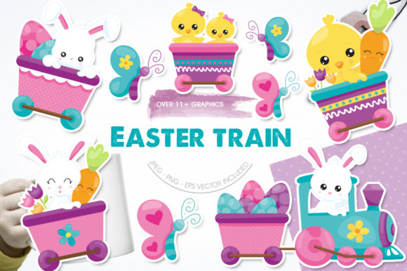 Print on Demand: Cute Animal Easter Train Graphic Illustrations By Prettygrafik