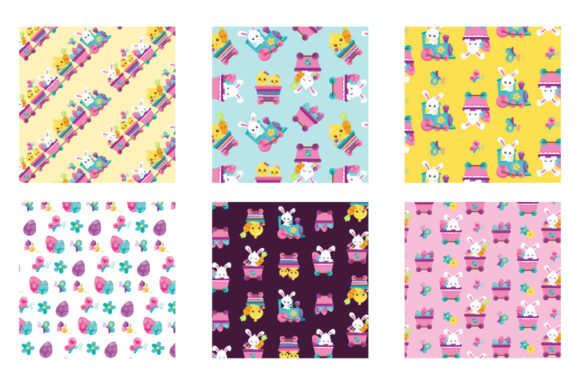 Print on Demand: Easter Train Graphic Patterns By Prettygrafik - Image 3