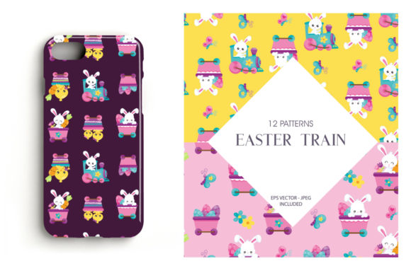 Print on Demand: Easter Train Graphic Patterns By Prettygrafik - Image 4