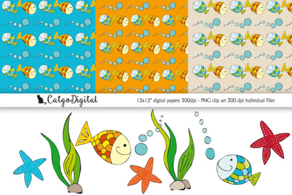 Download Free Fish Under The Sea Graphic By Catgodigital Creative Fabrica for Cricut Explore, Silhouette and other cutting machines.