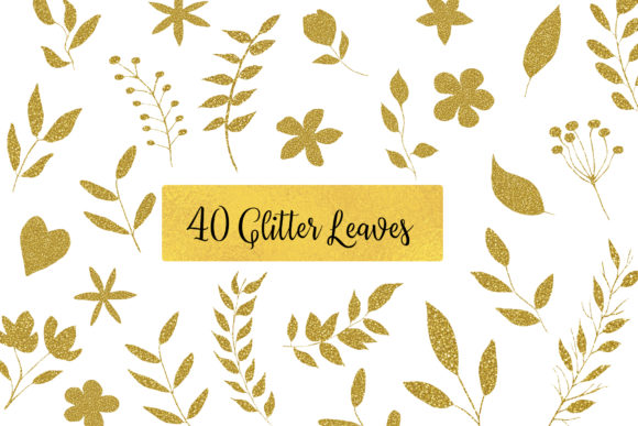 Gold Glitter Leaves Graphic Objects By BonaDesigns