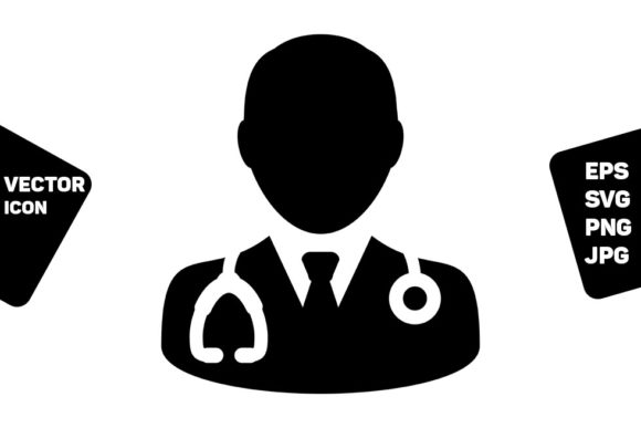 Download Free Healthcare Icon Vector Male Doctor Graphic By Tuktuk Design for Cricut Explore, Silhouette and other cutting machines.