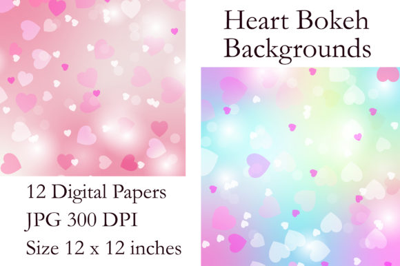 Heart Bokeh Digital Paper Graphic Backgrounds By PinkPearly - Image 2