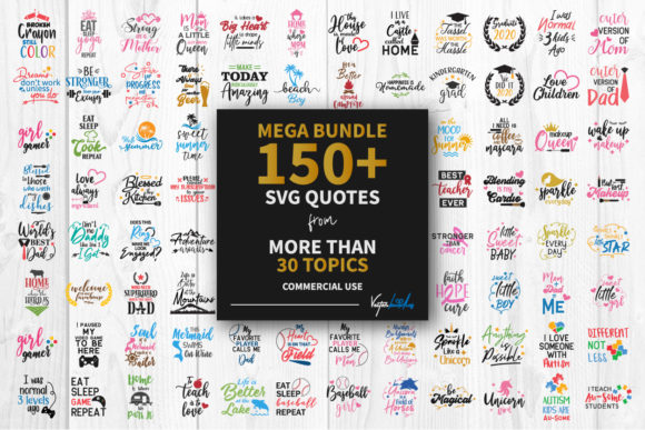 Print on Demand: Mega Bundle 150 Quotes Graphic Crafts By vectorbundles