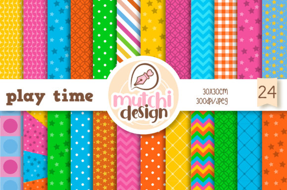 Playtime Digital Papers Graphic Backgrounds By Mutchi Design