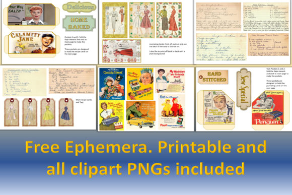 Download Free Retro Journaling Kit And Ephemera Graphic By The Paper Princess for Cricut Explore, Silhouette and other cutting machines.