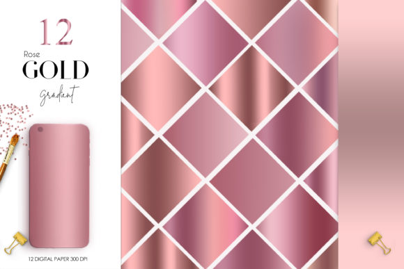 Print on Demand: Rose Gold Gradient Graphic Backgrounds By The Rose Mind