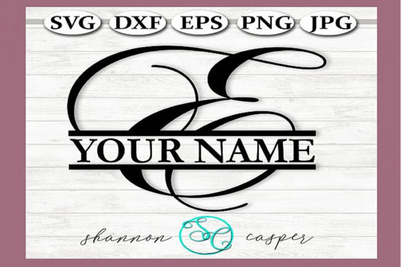 Download Free Split Monogram Swirl Letter E Graphic By Shannon Casper for Cricut Explore, Silhouette and other cutting machines.