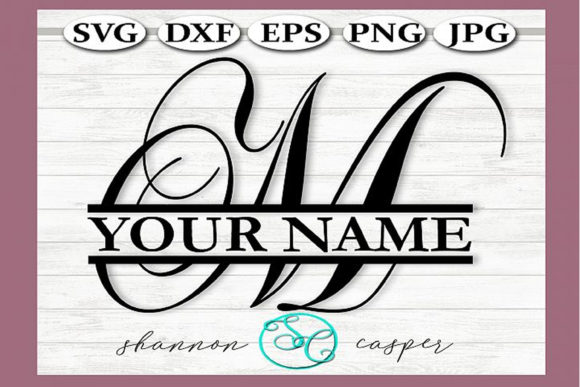 Download Free Split Monogram Swirl Letter M Graphic By Shannon Casper Creative Fabrica for Cricut Explore, Silhouette and other cutting machines.