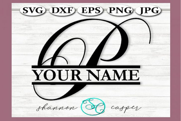 Download Free Split Monogram Swirl Letter P Graphic By Shannon Casper for Cricut Explore, Silhouette and other cutting machines.