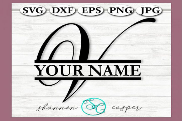 Download Free Split Monogram Swirl Letter V Graphic By Shannon Casper for Cricut Explore, Silhouette and other cutting machines.
