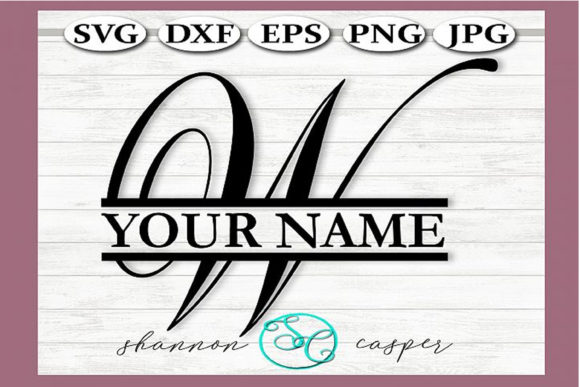 Download Free Split Monogram Swirl Letter W Graphic By Shannon Casper for Cricut Explore, Silhouette and other cutting machines.