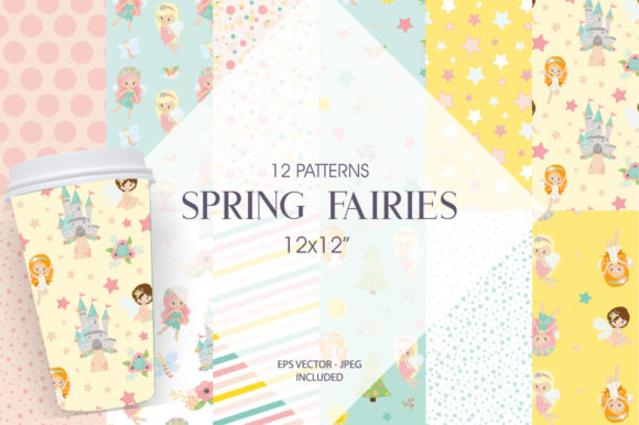 Print on Demand: Spring Fairies Gráfico Moldes Por Prettygrafik
