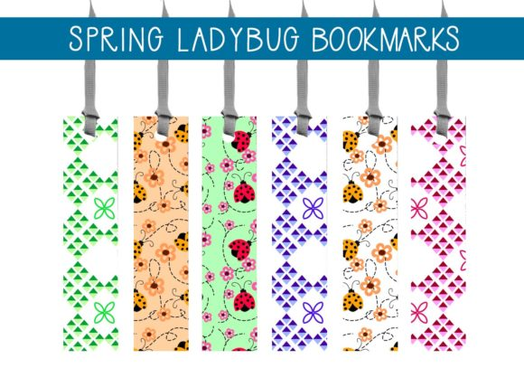 Print on Demand: Spring Ladybug Bookmarks Graphic Illustrations By capeairforce - Image 1